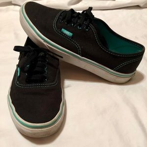 Vans Black and Turquoise Low Top